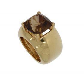 Exclusieve 18 karaats gouden design ring met rookkwarts