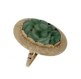 14 karaats gouden dames ring met gestoken Jade