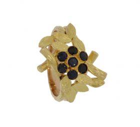 Unieke 14 karaats gouden saffieren ring in bloemvorm