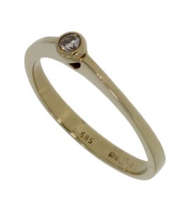 14 karaats gouden solitair diamant dames ring kastzetting