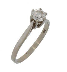 14 karaats witgouden damesring met diamant 0,52ct