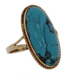 Antieke 14 karaats gouden Retro dames ring Turkoois