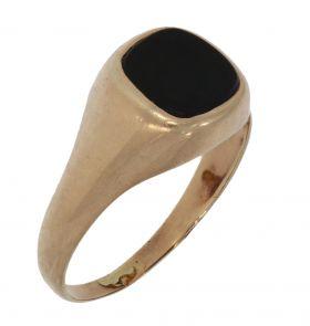 Antieke 14 karaats gouden zegelring met onyx steen