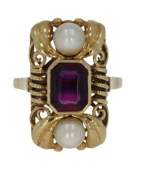 14 karaats gouden entourage ring met amethist en parels