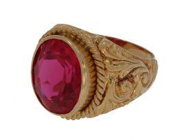 Fraaie 18 karaats gouden Vintage heren ring met synthetische robijn