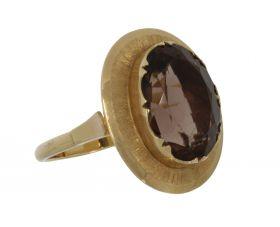 Robuuste 14 karaats gouden retro ring Rookkwarts