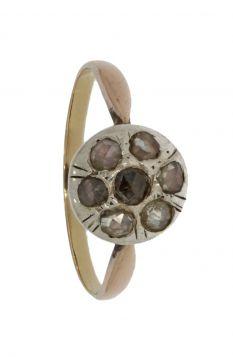 Antieke 14 karaats gouden bicolor ring met 7 roosdiamanten