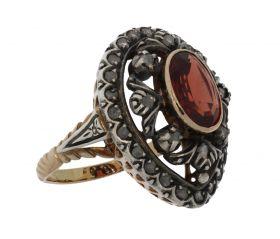 Exclusieve gouden antieke roosdiamanten kroon ring met granaat