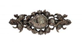 Antieke gouden en zilveren broche 20 roosgeslepen diamanten