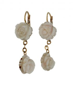 18 karaats gouden oorbellen met roosjes Peau d'Ange koraal