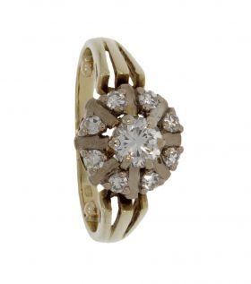 14 karaats gouden entourage ring met 9 diamanten