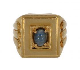 20 karaats gouden Vintage ring met lichtblauwe saffier