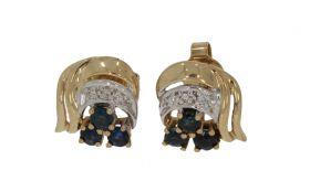 14 karaats gouden oorstekers saffieren en diamanten