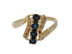14 karaats gouden fantasie ring met 4 saffieren en 6 diamanten