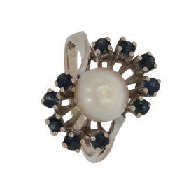14 karaaats witgouden Vintage ring 10 saffieren en parel