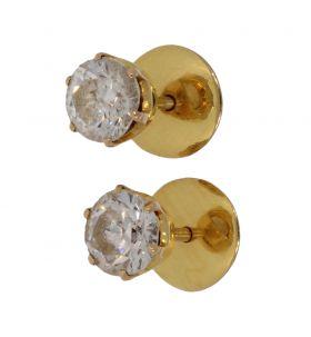 14 karaats gouden Vintage oorknoppen met simili