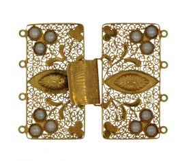 Antieke filgrein gouden sluiting met parels ca. 1900