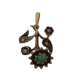Antieke gouden en zilveren hanger smaragd en roosdiamanten