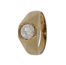 Klassieke 14 karaats gouden solitair ring met simili