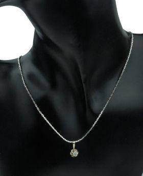 14 karaats witgouden collier met diamant solitair hanger 0,23ct