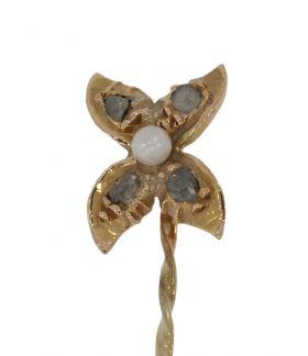 Antieke 14 karaats gouden vlinderbroche met diamanten en parel