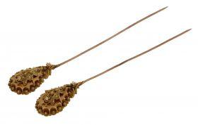 Antieke 14 karaats gouden hoedenspelden Zeeuwse knop