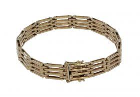Geelgouden Vintage dames schakel staafjes armband