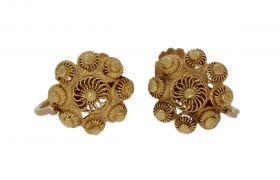 Antieke 14 karaats gouden oorschroeven Zeeuwse knoop