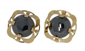 14 karaats gouden Retro oorstekers Hematiet