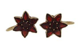 Antieke 14 karaats gouden stervormige granaat oorbellen