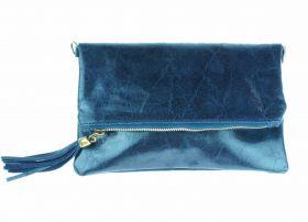 Leren schoudertasje - clutch met lichtglanzende coating - blauw