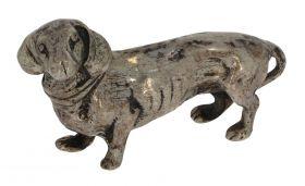 Zilveren miniatuur Teckel J. Weeda Haarlem