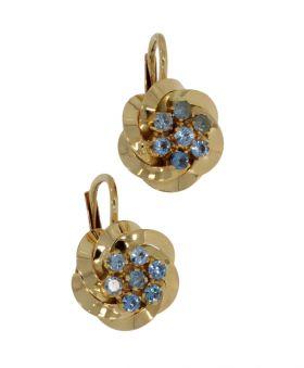 18 karaats gouden oorbellen met blauwe Topaas