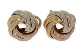 14 karaats gouden tricolor oorclips