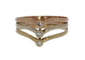 Tricolor 14 karaats gouden ring zirkonia