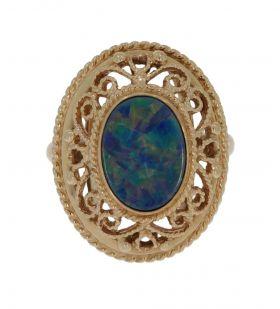 Ajourbewerkte 14 karaats gouden ring met Opaal triplet