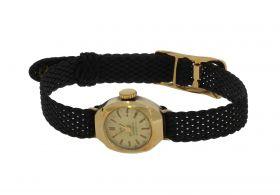 Antiek gouden Tusal dames horloge aan stoffen band