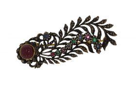 Fraai antieke gouden en zilveren veerbroche robijn smaragd saffier