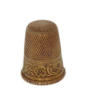 Antieke 19e eeuws gouden vingerhoed