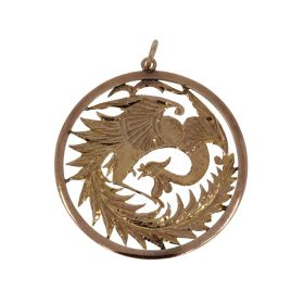 14 karaats gouden Chinese ketting hanger paradijsvogel