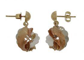 14 karaats gouden Vintage oorbellen tricolor waaier design