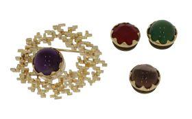 14 karaats gouden abstracte broche met verwisselbare edelstenen