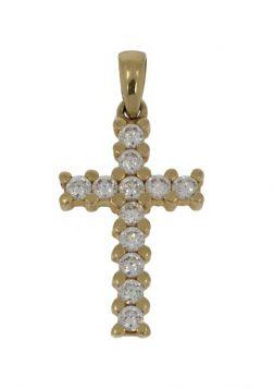 14 karaats gouden kruis ketting hanger bezet met 12 zirkonia